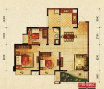 温江和信孔雀城104平米三居室平面图