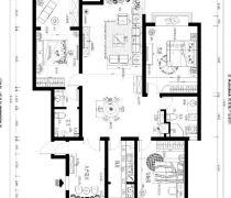 中央特区162平米三居室平面图
