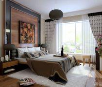 创意后现代风格15平米卧室白色毛毛地毯装饰效果图