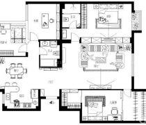 京能天下川170平米三居室平面图