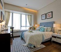 小清新15平米卧室飘窗榻榻米装修实景图欣赏