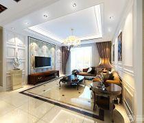2020贵气十足的二室一厅欧式风格客厅电视背景墙吊顶装修赏析