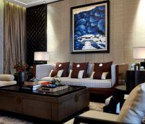 中式室内客厅风水画装修效果图片