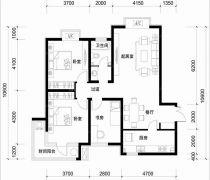 超好户型三房两厅一卫户型图