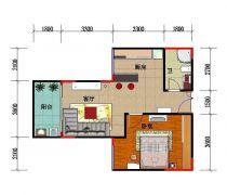 简欧风格56平方一室一厅简欧地板户型图