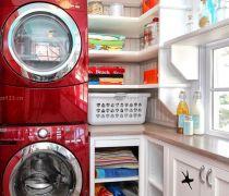 60平米洗衣房红色滚筒洗衣机效果图