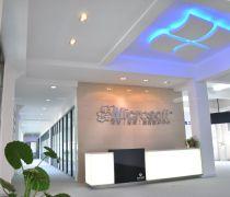 河南公司前台logo背景墙设计效果图