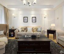 80-90平米房屋客厅软沙发摆放图
