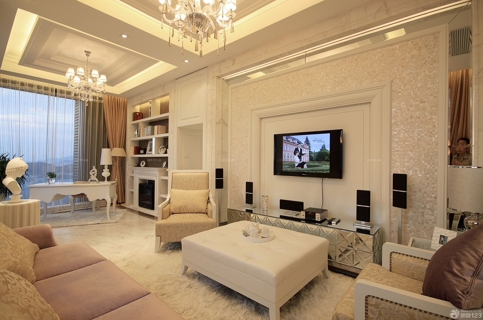 100平米两室两厅户型简约白色墙面装修效果图欣赏
