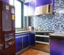 最新70-80平米房屋马赛克背景墙厨房装修图片