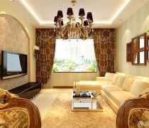 美式客厅咖啡色窗帘装修是效果图片