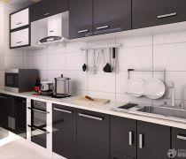 70平米房最省钱的装修厨房黑色橱柜装修效果图片
