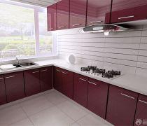家庭用红色烤漆橱柜装修效果图片
