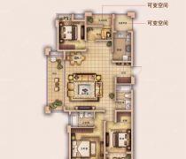 有可变空间四室两厅室内平面图欣赏