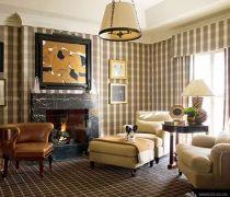 现代客厅无缝墙布装修效果图片