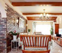 客厅有梁木质吊顶装修效果图片