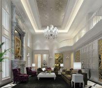 复式楼纯欧式客厅的装修样板