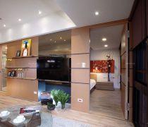 小户型客厅有隐形门的电视背景墙装修图