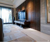 有隐形门的木质电视背景墙装修效果图片