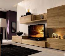 家庭客厅有隐形门的电视背景墙装修效果图
