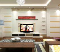 有隐形门的客厅电视背景墙造型设计图片