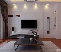 有隐形门的客厅简单电视背景墙装修图片