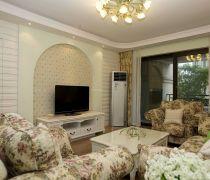 普通家庭客厅有隐形门的电视背景墙装修图