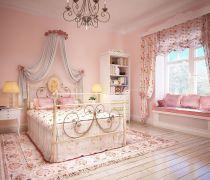 有飘窗的公主卧室设计效果图