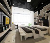 黑白风格家庭有飘窗的卧室装修效果图