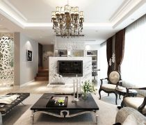 80-90平方小户型错层客厅装修效果图片
