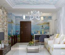 50-60平米小户型客厅墙砖壁纸装修效果图片